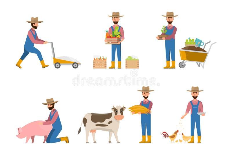 historieta feliz del granjero en muchos caracteres fijados ilustración del vector