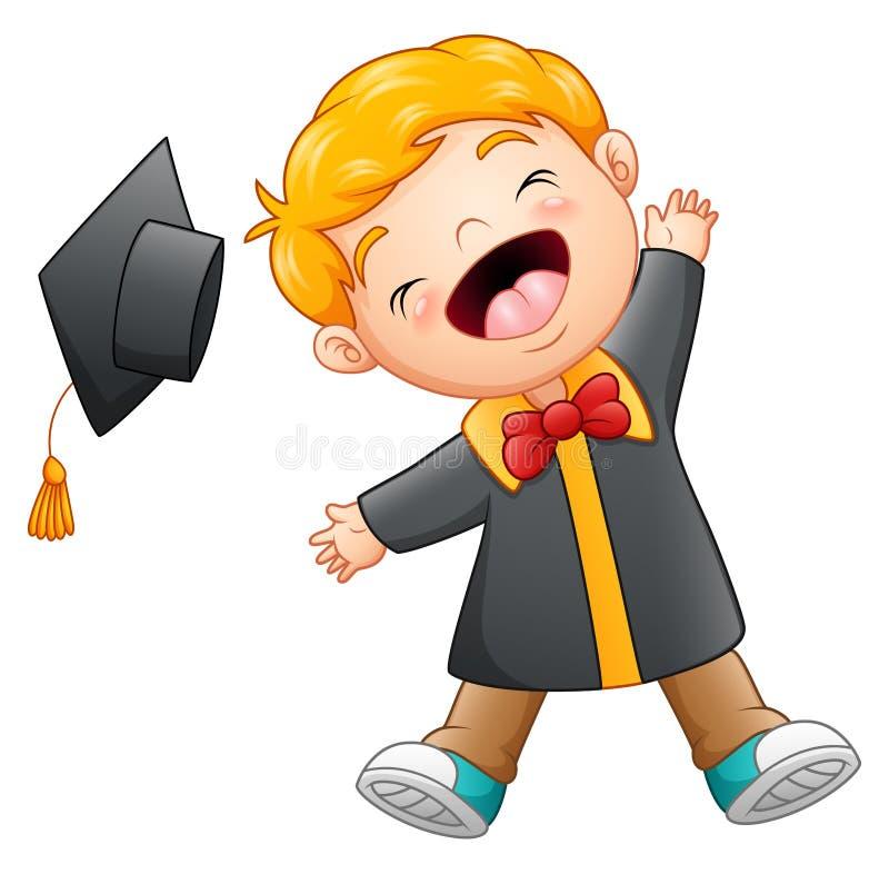 Historieta feliz del muchacho de la graduación stock de ilustración
