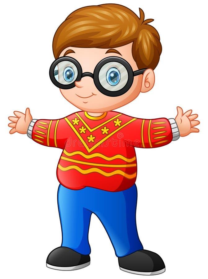 Historieta feliz del muchacho que lleva el suéter rojo de la Navidad libre illustration