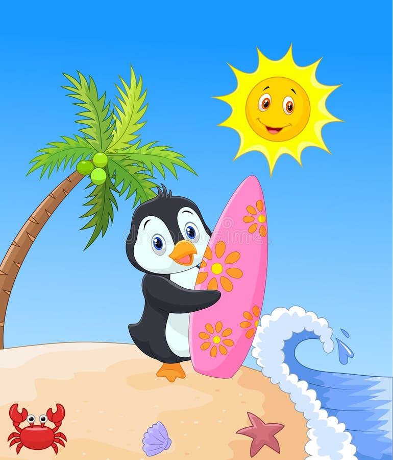 Historieta feliz del pingüino que sostiene la tabla hawaiana stock de ilustración