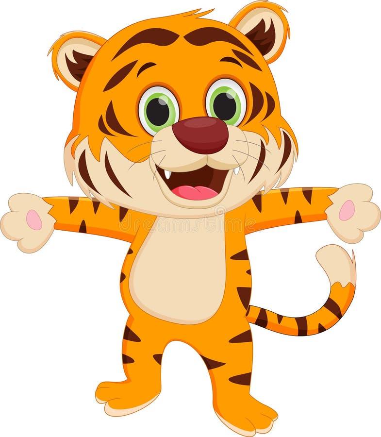 Historieta feliz del tigre ilustración del vector