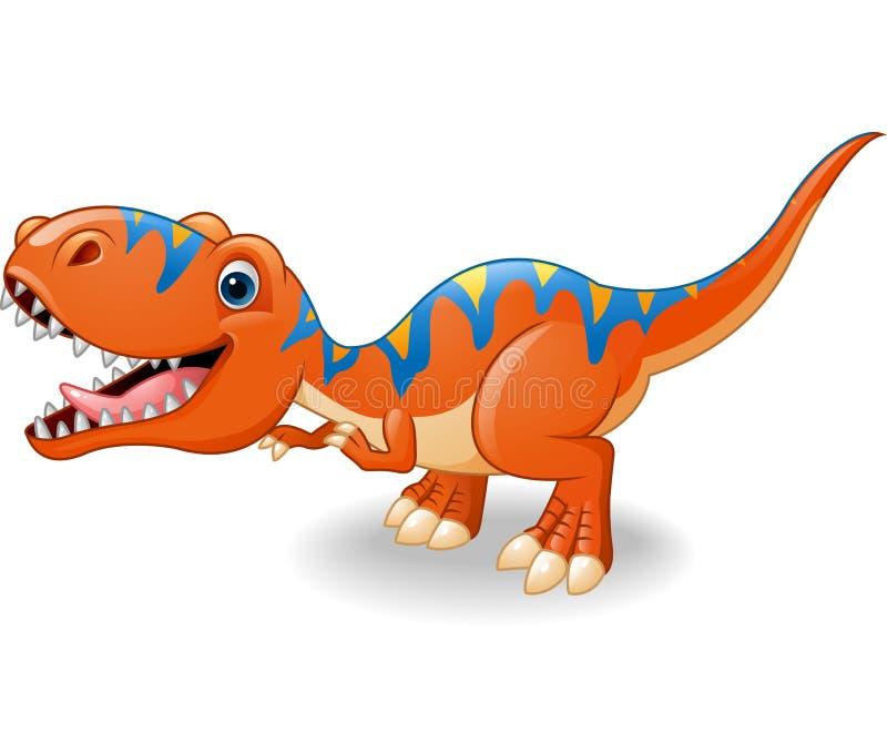 Historieta feliz del tiranosaurio stock de ilustración