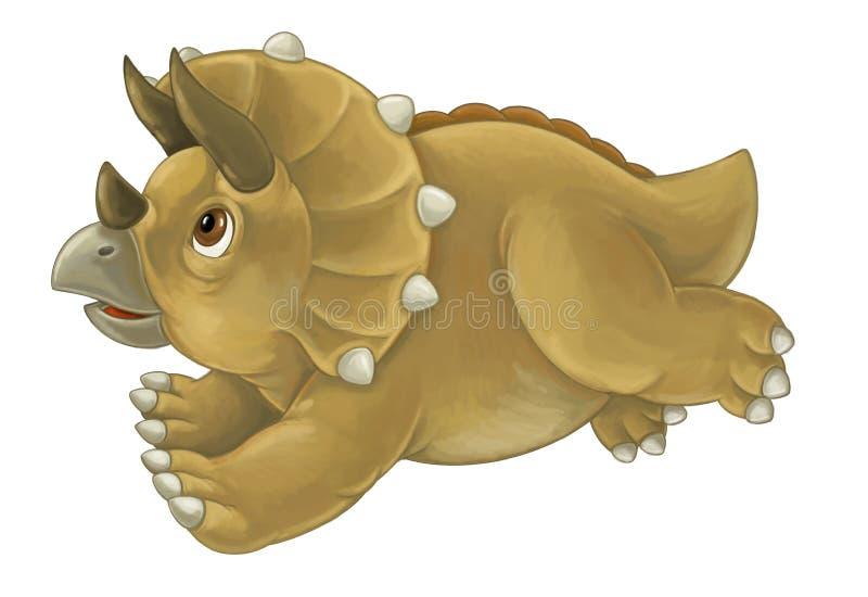 Historieta feliz y dinosaurio divertido que parece en servicio - tricer ilustración del vector