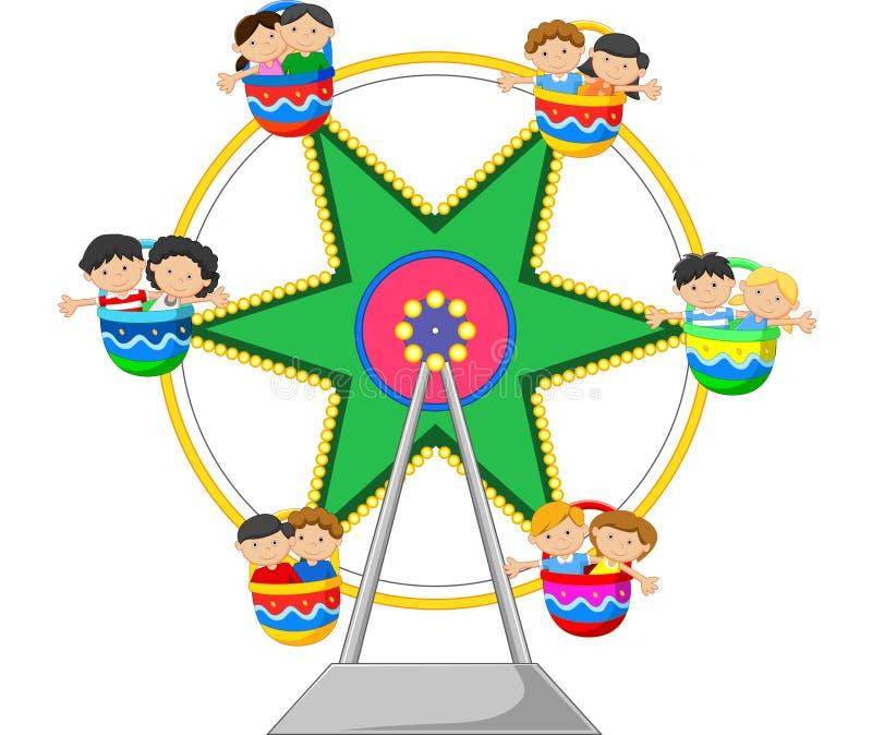 Historieta Ferris Wheel Over stock de ilustración