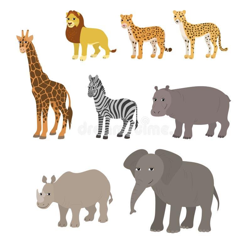 Historieta fijada: elefante del rinoceronte del hipopótamo de la cebra de la jirafa del guepardo del leopardo del león stock de ilustración