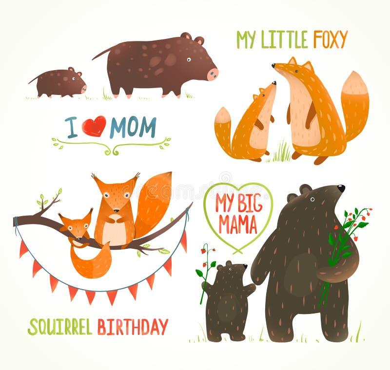 Historieta Forest Animals Parent con cumpleaños del bebé imagenes de archivo