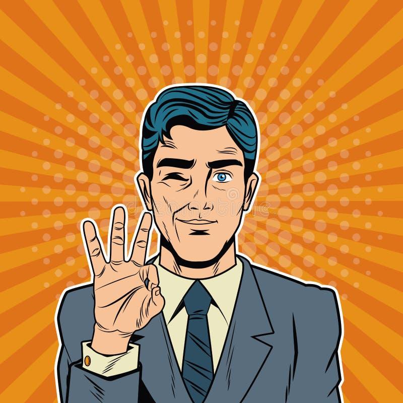 Historieta fresca del arte pop del hombre de negocios stock de ilustración