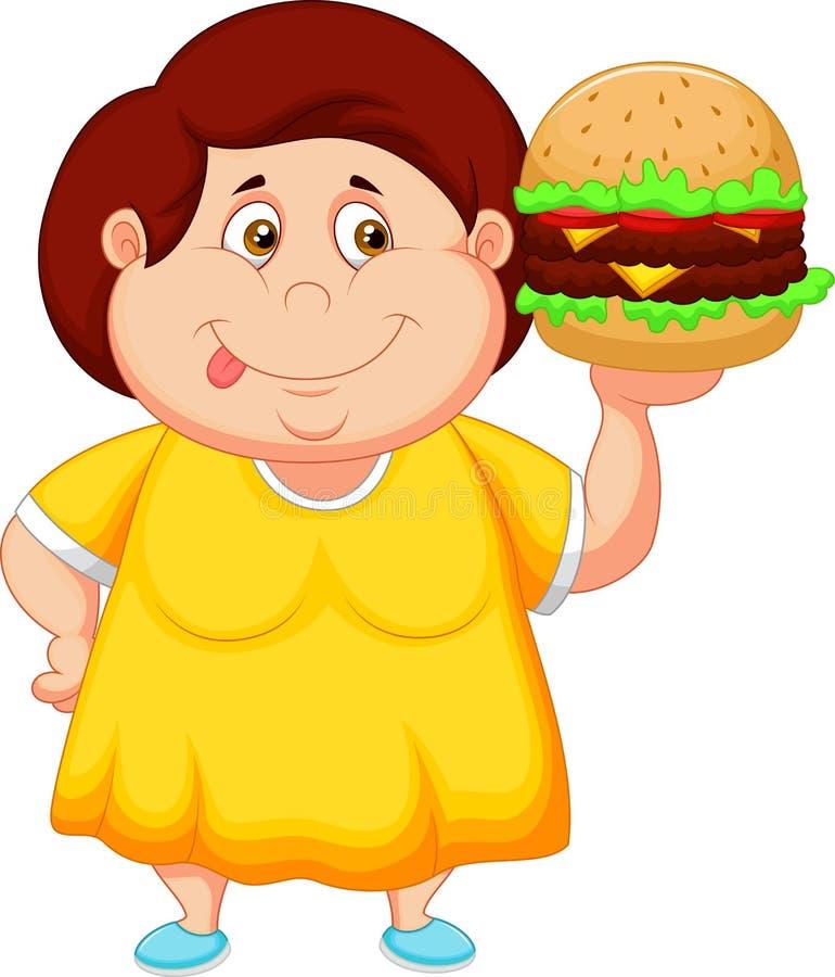 Historieta gorda de la muchacha que sonríe y preparada una hamburguesa grande ilustración del vector