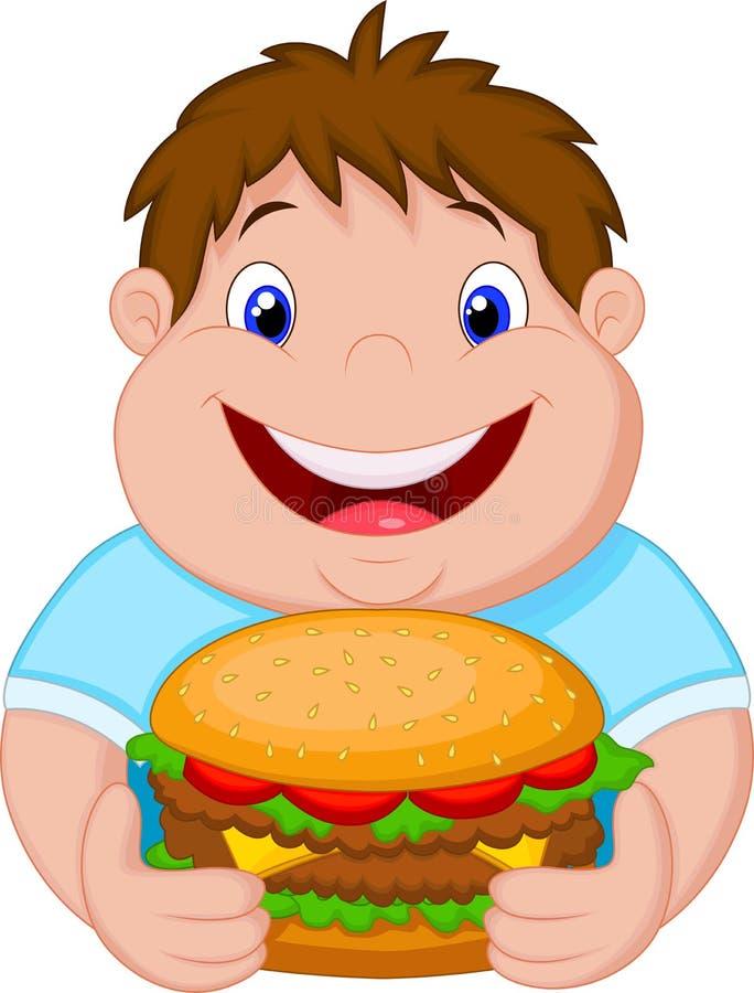 Historieta gorda del muchacho que sonríe y preparada una hamburguesa grande stock de ilustración
