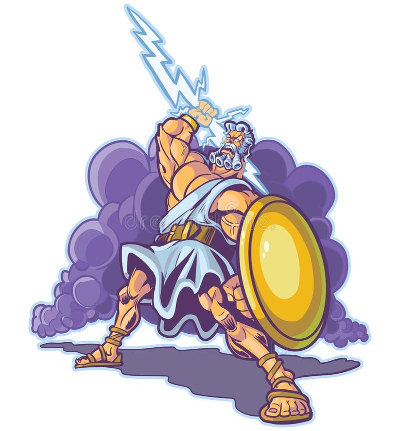 Historieta griega del vector de la mascota de dios o del titán del trueno libre illustration