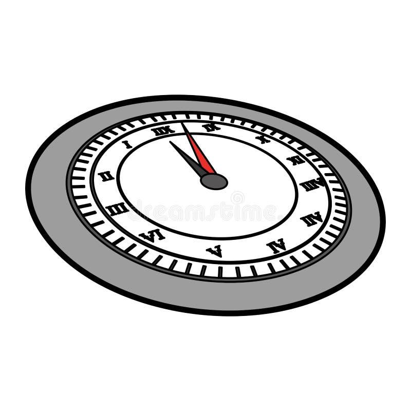 Historieta gris linda del reloj ilustración del vector
