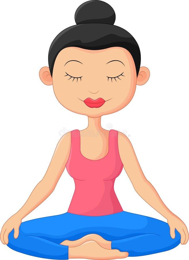 Historieta hermosa de la mujer que hace la meditación de la yoga ilustración del vector