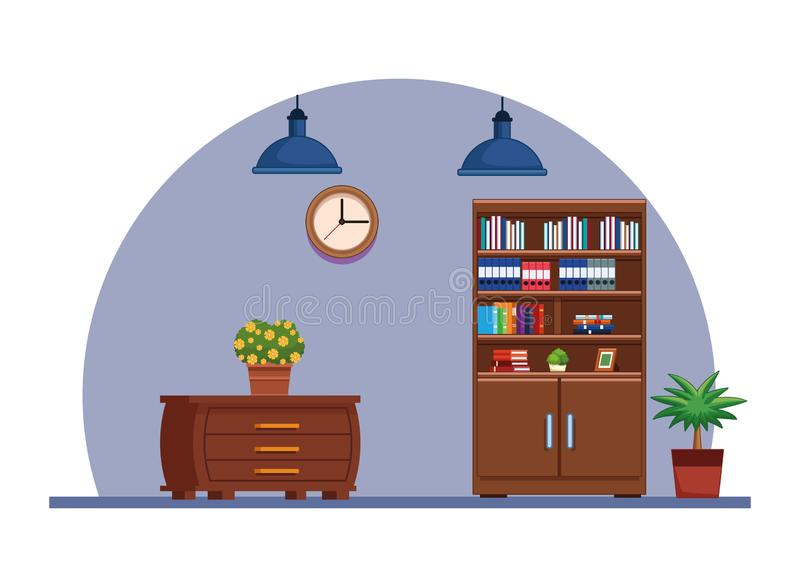 Historieta interior del icono de la casa de los muebles ilustración del vector