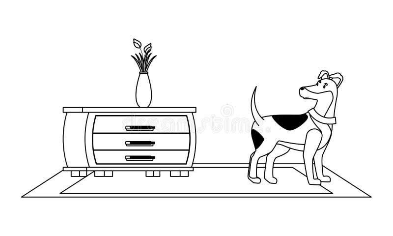 Historieta interior del icono de la casa de los muebles en blanco y negro ilustración del vector