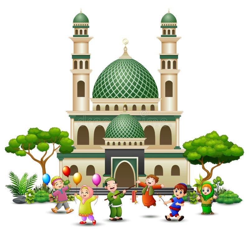 Historieta islámica feliz de los niños que juega delante de una mezquita ilustración del vector