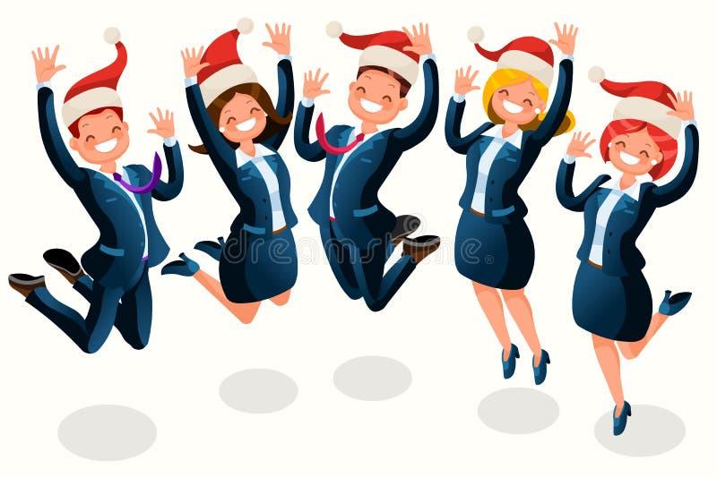 Historieta isométrica de la gente de la fiesta de Navidad de la oficina ilustración del vector