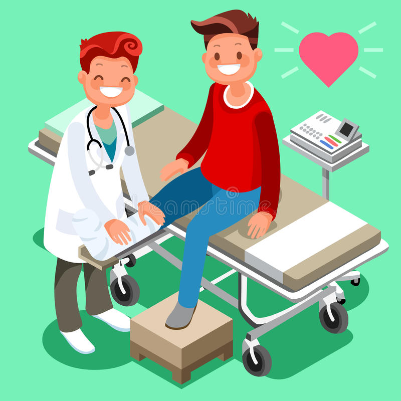 Historieta isométrica paciente masculina del doctor y del hombre ilustración del vector