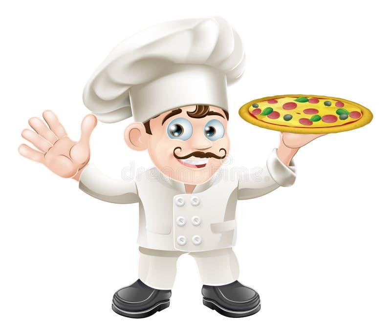 Historieta italiana del cocinero de la pizza stock de ilustración