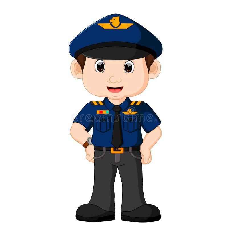 Historieta joven del policía ilustración del vector
