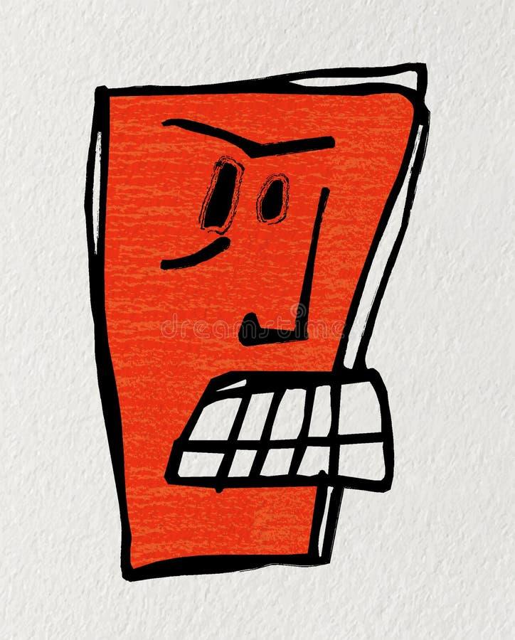 Historieta la cara de un robot enojado imagen de archivo libre de regalías