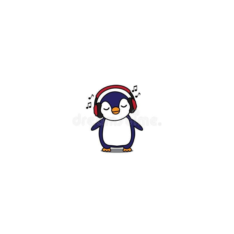 Historieta linda con los auriculares rojos, icono del pingüino de la música del pingüino del bebé que escucha stock de ilustración