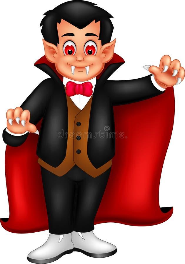 Historieta linda de Drácula que se coloca con sonrisa y agitar libre illustration
