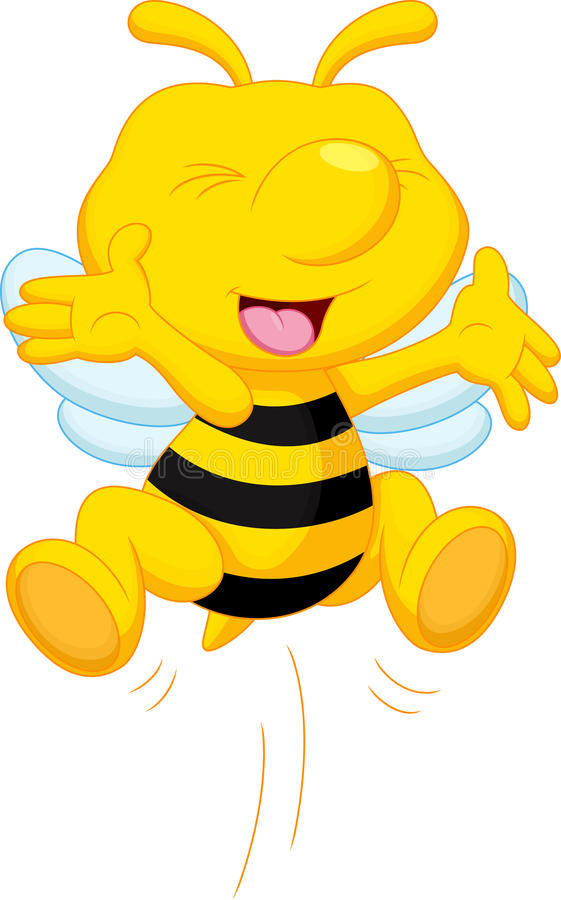 Historieta linda de la abeja stock de ilustración
