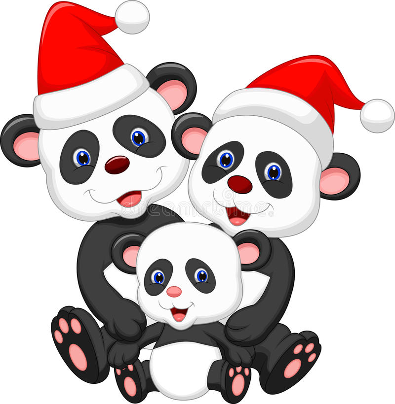 Historieta linda de la familia de la panda que lleva el sombrero rojo stock de ilustración