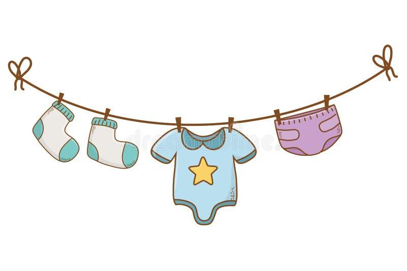 Historieta linda de la fiesta de bienvenida al bebé libre illustration