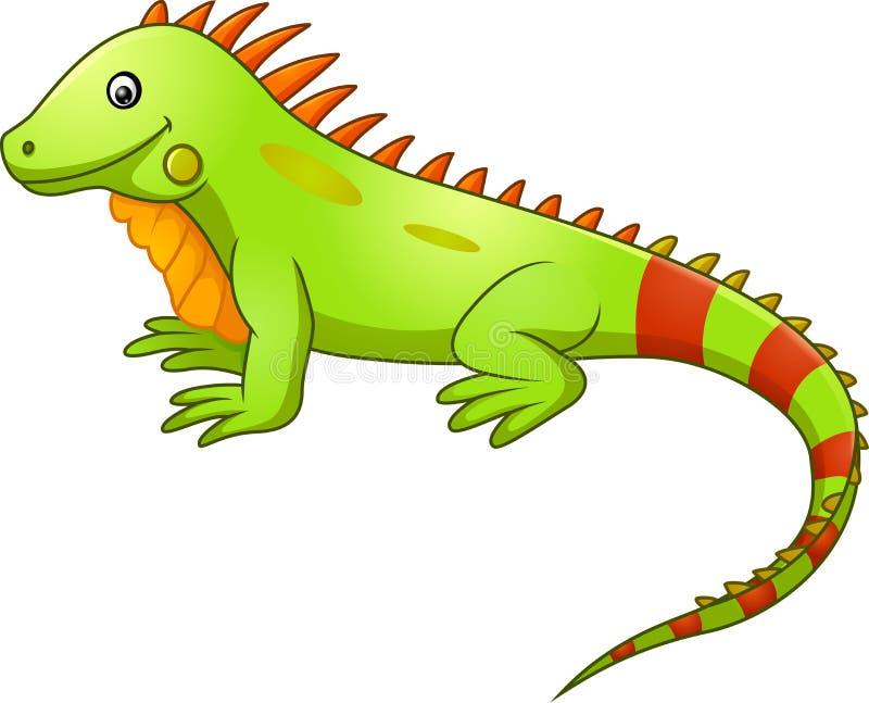 Historieta linda de la iguana stock de ilustración