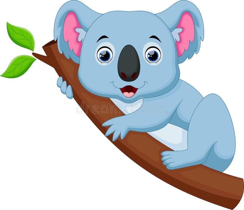 Historieta linda de la koala en un árbol ilustración del vector