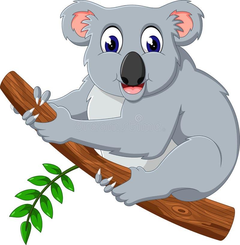 Historieta linda de la koala en un árbol stock de ilustración