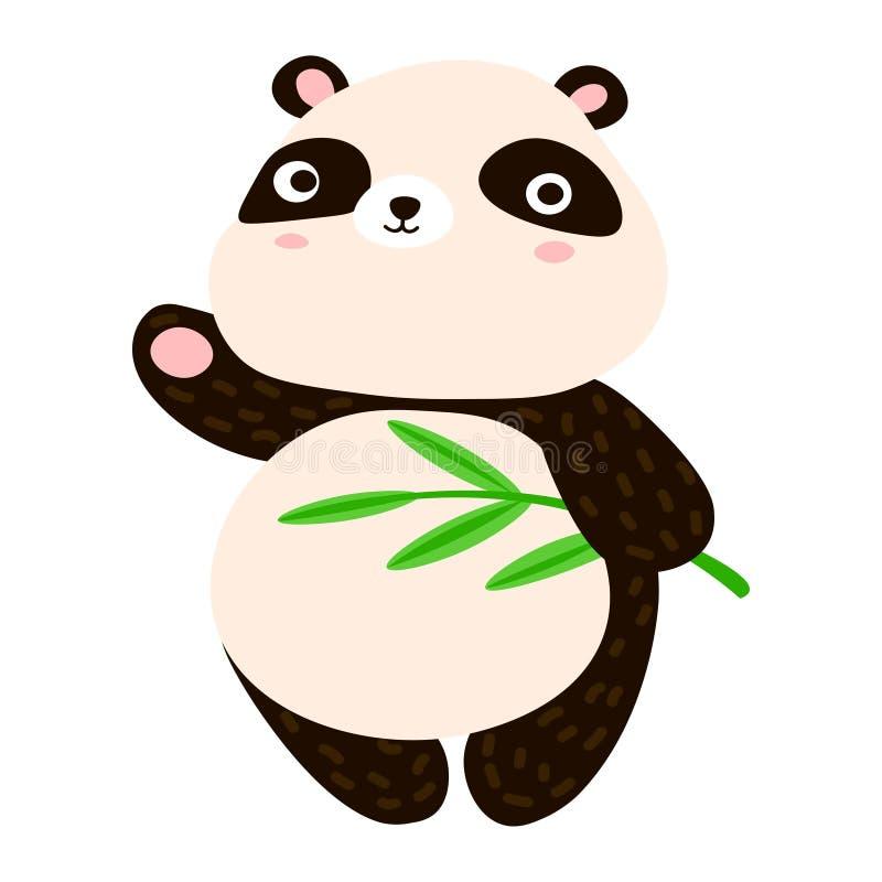 Historieta linda de la panda Panda dulce que agita su pata stock de ilustración