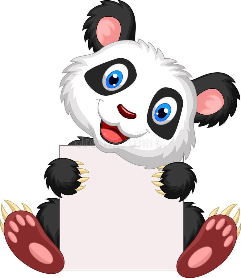 Historieta linda de la panda que lleva a cabo la muestra en blanco ilustración del vector