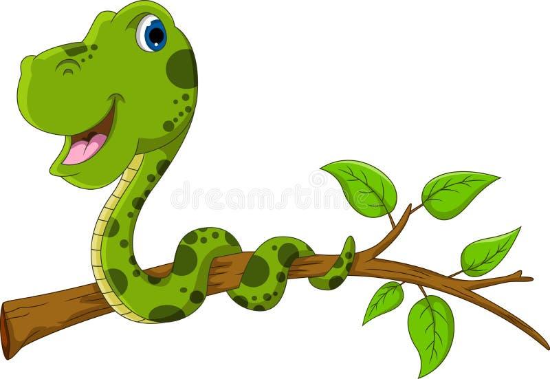 Historieta linda de la serpiente verde en árbol stock de ilustración