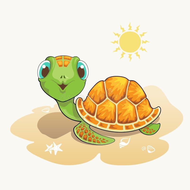 Historieta linda de la tortuga en la playa ilustración del vector