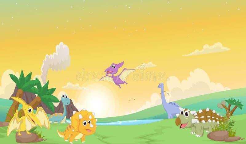 Historieta linda de los dinosaurios con paisaje prehistórico stock de ilustración