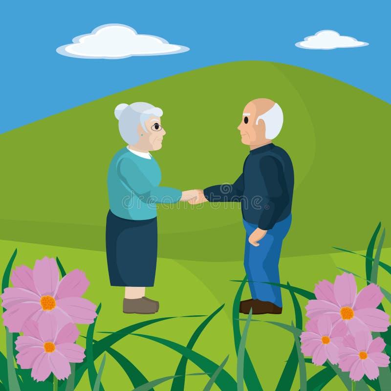 Historieta linda de los pares de los abuelos stock de ilustración