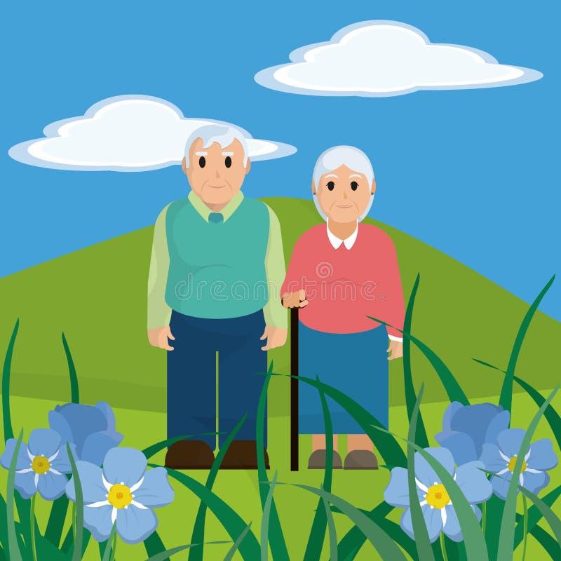 Historieta linda de los pares de los abuelos ilustración del vector