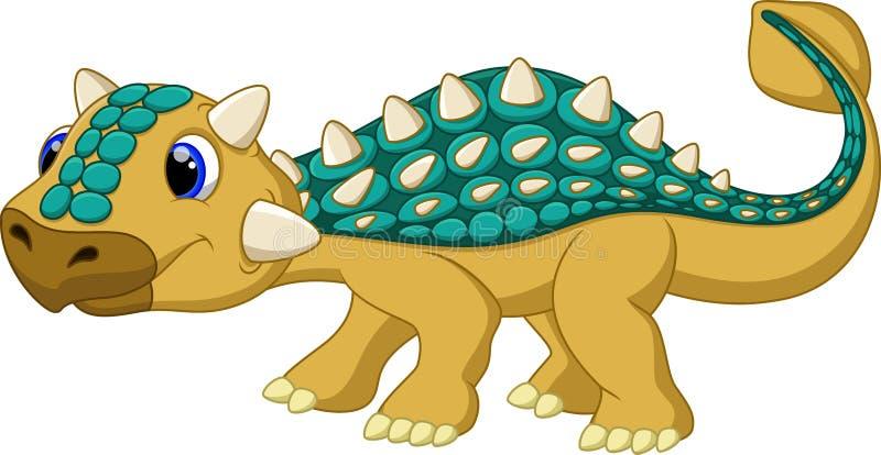 Historieta linda del ankylosaurus stock de ilustración