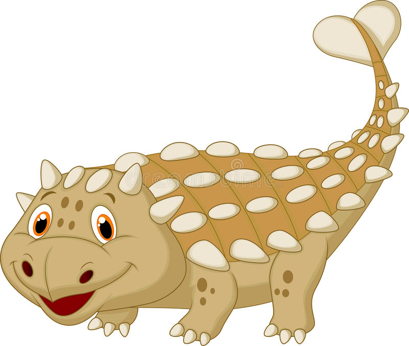 Historieta linda del ankylosaurus del dinosaurio stock de ilustración