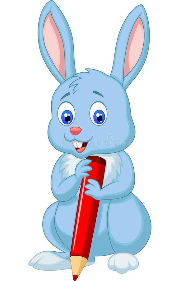 Historieta linda del conejo que sostiene el lápiz rojo ilustración del vector