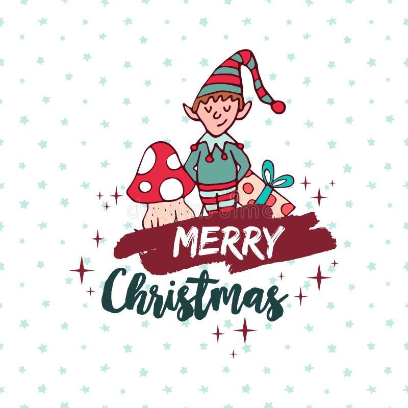 Historieta linda del día de fiesta del duende del ayudante de santa de la Navidad ilustración del vector