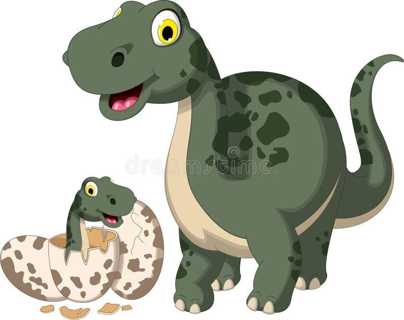 Historieta linda del dinosaurio con su bebé stock de ilustración