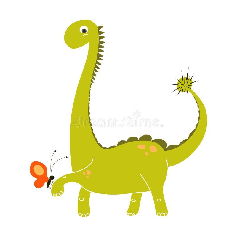 Historieta linda del dinosaurio verde que sostiene una pequeña mariposa roja Sistema del garabato del vector EPS 10 Dino ilustración del vector