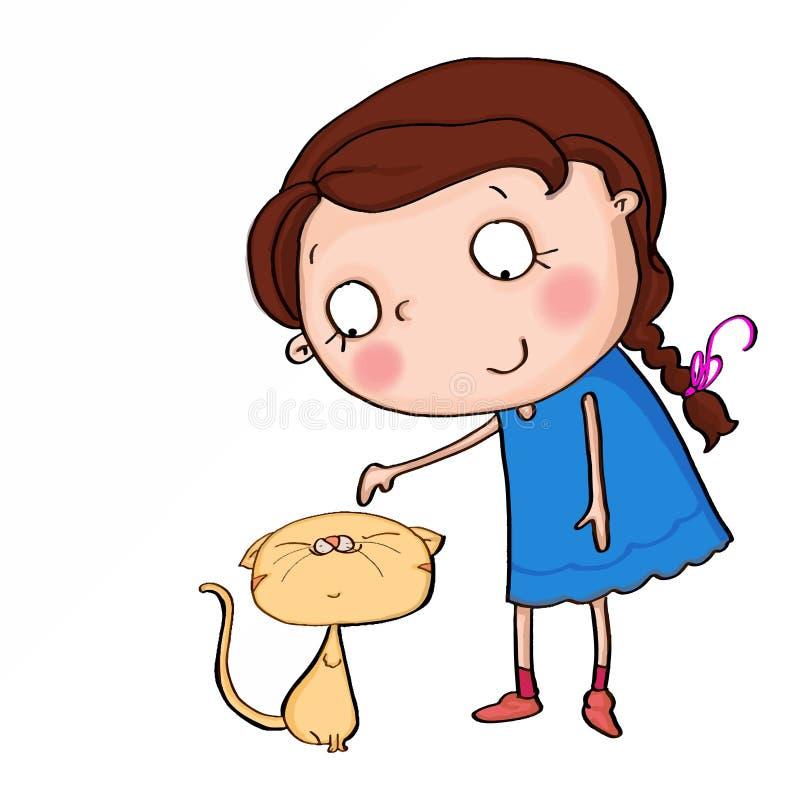 historieta linda del ejemplo de la muchacha y del gato y fondo blanco ilustración del vector