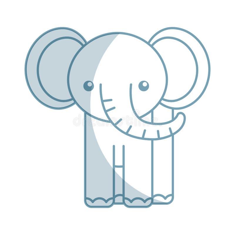 Historieta linda del elefante de la sombra stock de ilustración