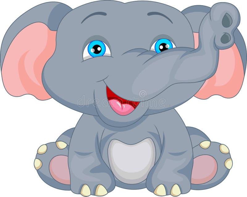 Historieta linda del elefante del bebé stock de ilustración