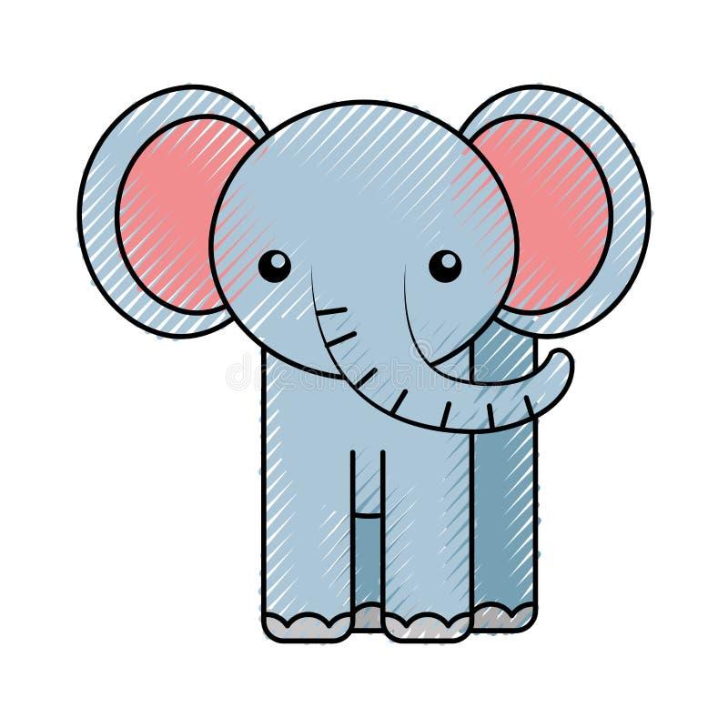 Historieta linda del elefante del garabato stock de ilustración
