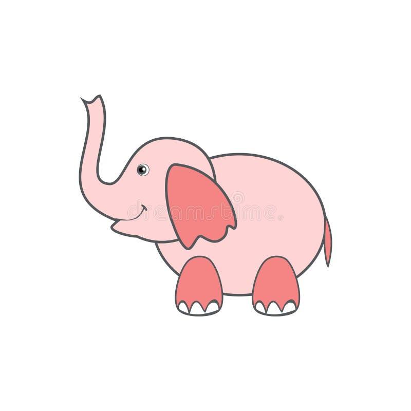 Historieta linda del elefante rosado, animal divertido del niño colorido del ejemplo del vector aislado en el fondo blanco, decor stock de ilustración